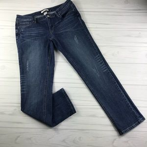 WHBM Blanc Distressed Crop Jeans Size 6